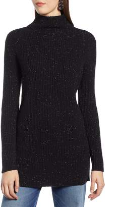 Halogen Funnel Neck Ribbed Tunic