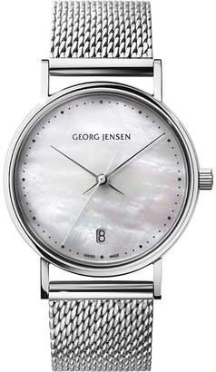 Georg Jensen Koppel stainless steel mother-of-pearl watch
