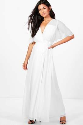 boohoo Chiffon Angel Sleeve Maxi Dress