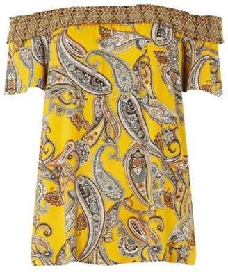 Dorothy Perkins Womens Yellow Paisley Print Shirred Bardot Top