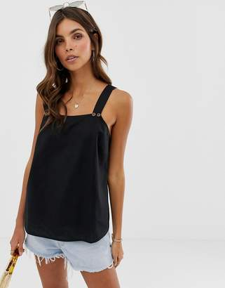 Asos Design DESIGN sleeveless sun top with button detail
