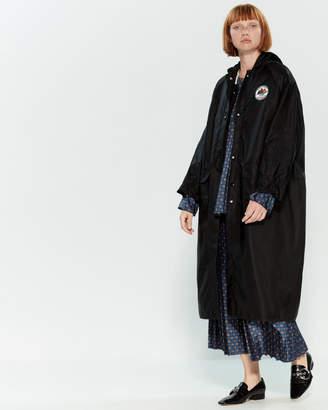 Hache Hooded Longline Sherpa-Lined Coat