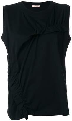 Marni round neck ruffled blouse