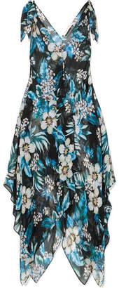Diane von Furstenberg Knotted Floral-print Silk-chiffon Dress - Black