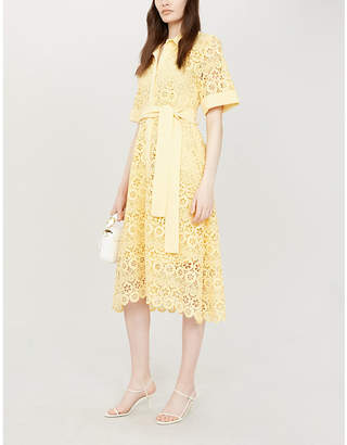Maje Embroidered-lace midi shirt dress