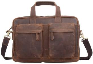 EAZO - Front Pockets Leather Laptop Brief in Brown