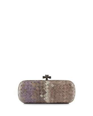 Bottega Veneta Woven Snakeskin Ayers Knot Clutch Bag, Pink $3,350 thestylecure.com