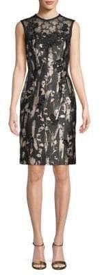 Carmen Marc Valvo Floral-Applique Sheath Dress