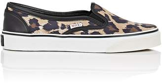 RED Valentino WOMEN'S LEOPARD-HEART-PRINT SATIN SNEAKERS