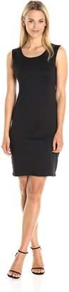 Star Vixen Women's Petite Ponte Illusion Back and Shoulder Inset Short Bodycon Dress