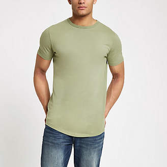 8df6cde2 River Island Green curved hem longline T-shirt
