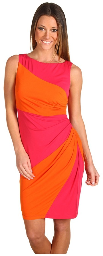 Muse - Color Block Side Ruched Dress