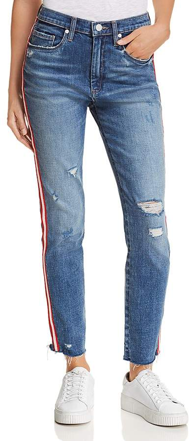 BLANKNYC Distressed Side-Stripe Jeans in Now or Never