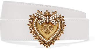 Dolce & Gabbana Embellished Leather Belt - White