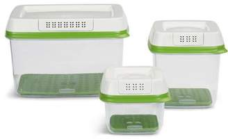Rubbermaid FreshWorks Produce Saver Food Storage Container with Lid, Green, 3 Count
