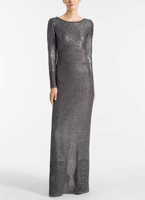 St. John Metallic Plaited Mixed Knit Gown