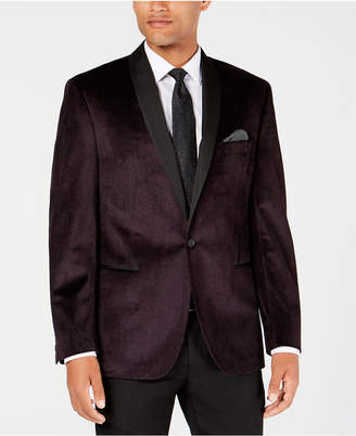 Ryan Seacrest Distinction Men Modern-Fit Burgundy/Black Velvet Paisley Dinner Jacket