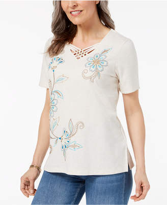 Alfred Dunner Petite Lattice-Neck T-Shirt