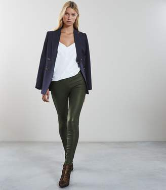 Reiss Our last order date for Christmas has now passed GOLDIE LEATHER LEGGINGS Green Moss