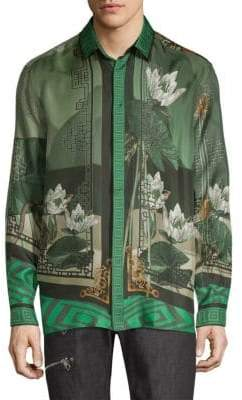 Versace Chinoiserie-Print Silk Button-Down Shirt