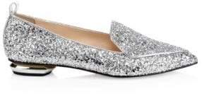 Nicholas Kirkwood Beya Metallic Leather Beveled Heel Loafers