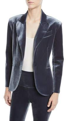 Norma Kamali Velvet Single-Breasted Jacket, Pewter