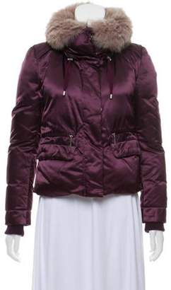 CNC Costume National Fur Trimmed Short Coat w/ Tags Purple Fur Trimmed Short Coat w/ Tags