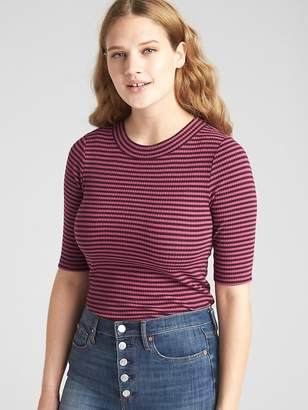 Gap Modern Ribbed Mockneck Stripe T-Shirt