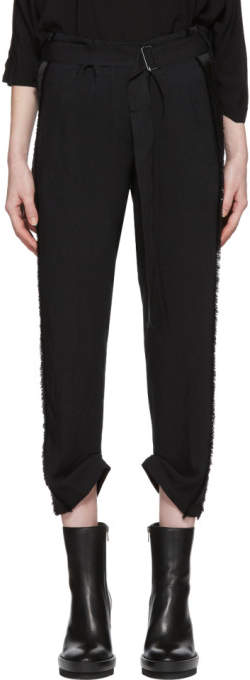 Black Grosgrain Belted Trousers