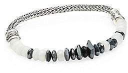 John Hardy Chain Sterling Silver, Milky Rainbow Moonstone, Hermatite & Black Onyx Beaded Bracelet