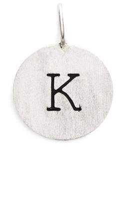 Argentovivo Sterling Silver 'K' Initial Disc Charm