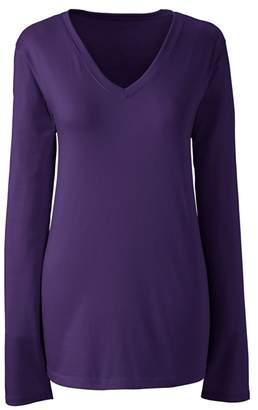 Lands' End Purple Petite Supima Long Sleeved V-Neck T-Shirt