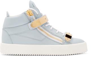 Giuseppe Zanotti SSENSE EXCLUSIVE Blue London Mid-Top Sneakers $995 thestylecure.com