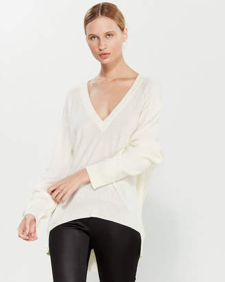 Liviana Conti V-Neck Hi-Low Wool Sweater