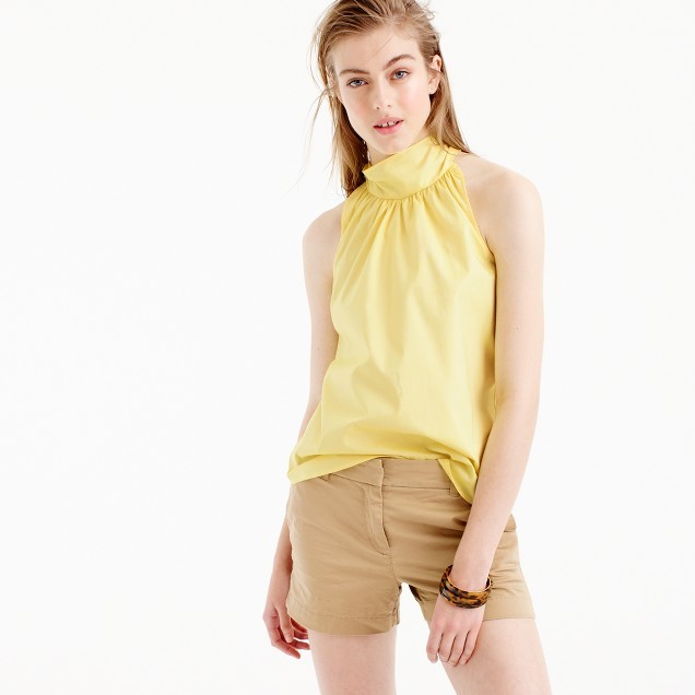 J.Crew Petitetie-neck top in oxford cotton