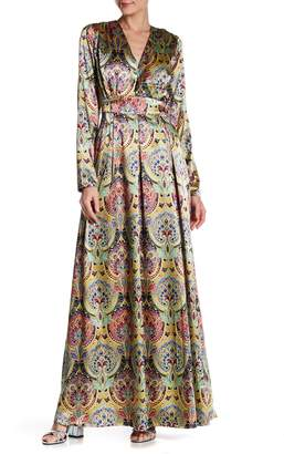 Gracia Patterned Surplice Neck Dress