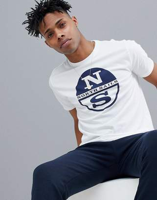 North Sails Slim Fit Large Logo T-Shirt In White