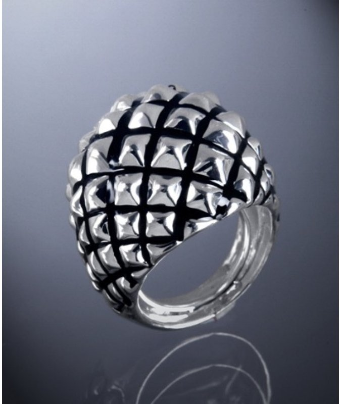 Kenneth Jay Lane silver pyramid stud dome ring