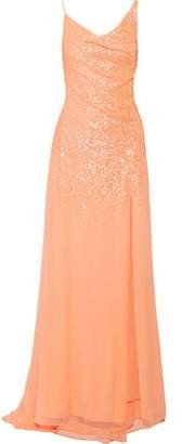 Halston Draped Sequined Georgette Gown