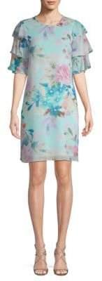 Calvin Klein Floral Tiered-Sleeve Dress