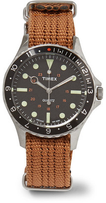 Timex Navi Harbor Stainless Steel And Webbing Watch $175 thestylecure.com