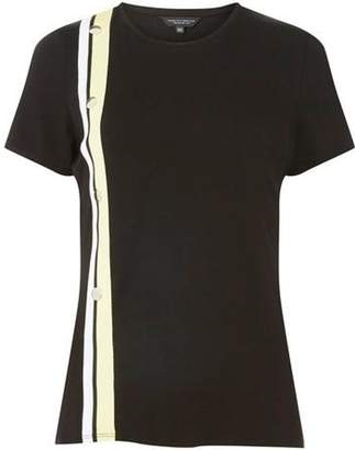 Dorothy Perkins Womens Black Button Embellished Stripe T-Shirt