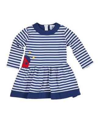 Florence Eiseman Striped Long-Sleeve Dress w/ Ladybug Applique, Size 2-6X