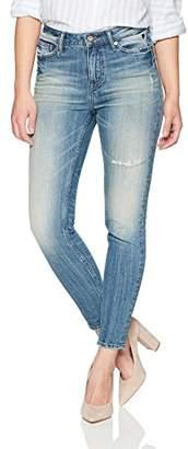 Denim Bloom Women's Midrise Skinny Jean with Repair Back Pocket 26X28