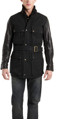 R 13 Leather Sleeve Rider Jacket