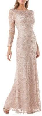 JS Collections Long-Sleeve Lace Embroidered Gown