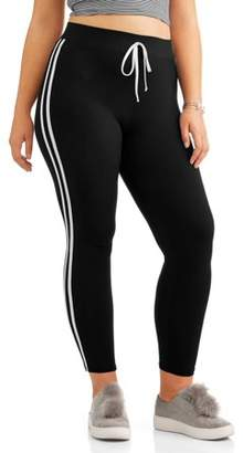 Eye Candy Juniors' Plus Size Leggings with Double Side Stripes and Tie Waist