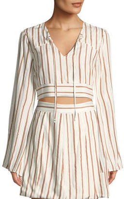 Tularosa Trisha Striped Long-Sleeve Crop Top