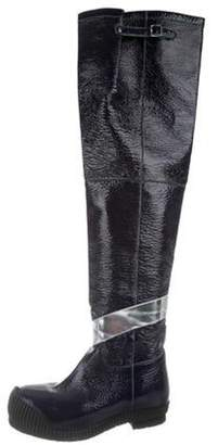 Calvin Klein Patent Leather Over-The-Knee Boots Navy Patent Leather Over-The-Knee Boots