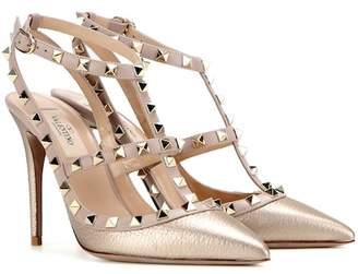 64a22495b6b Valentino Rockstud metallic leather pumps